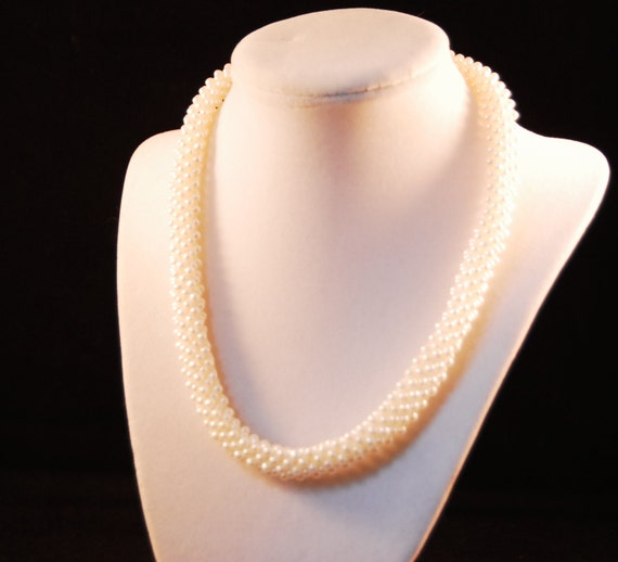 Woven Pearl Choker Rope Necklace