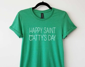 Happy Saint Catty's Day on Adult & Ladies Crewneck Tri-blend Tees