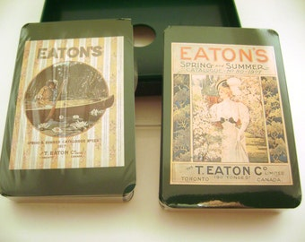 Playing Cards Double Deck Set Eaton's Recollections 1907/1917 Catalogue Cover Advertising Reproduction Timothy E. Eaton Company  1992