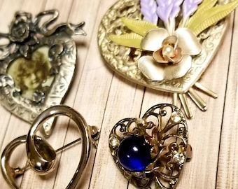 Vintage Silver Toned Heart Brooches and Heart Stick Pin Lot of 5