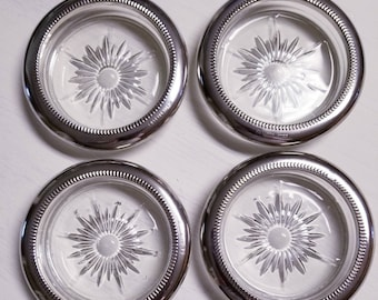 Silverplate Pressed Glass Coasters Vintage Lot of 4 Great Father's Day  or Wedding Gift!