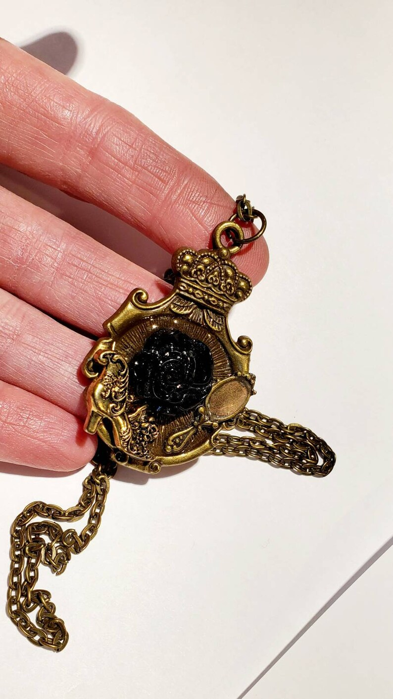 Victorian Lady Black Rose Necklace Mirror Shadowbox Collage Pendant