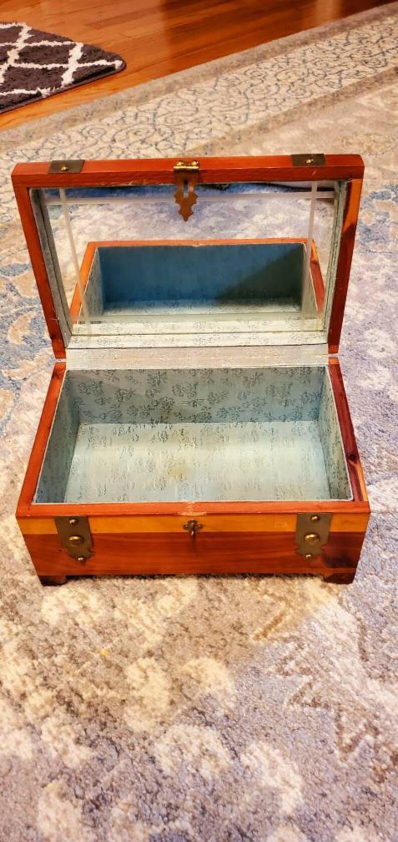 Pilliod Art Box Cedar Jewelry Box with Mirrored Hinged Lid Treasure Box