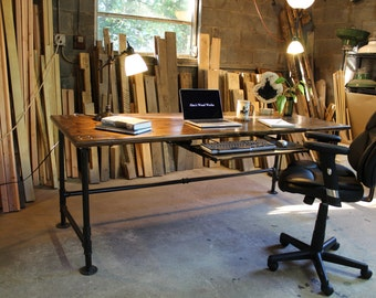 industrial office desk modern industrial pipe desk desk etsy