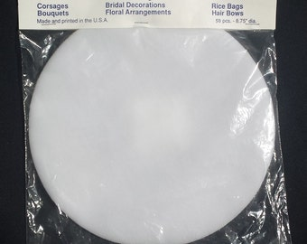 """9"""" WhiteTulle Circles for wedding favors, shower favors  or party favors- 50 circles in a package"""