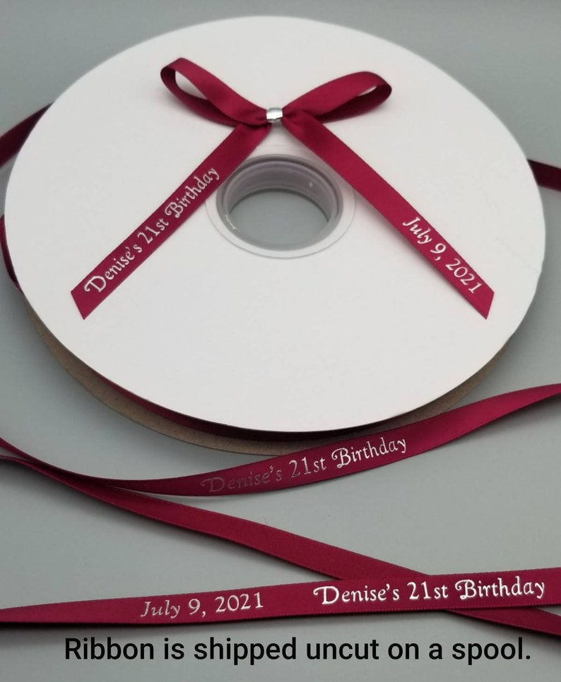 125 Personalized 38 Satin Ribbons for Wedding Favors Birthday Favors or Baby Shower Favors.
