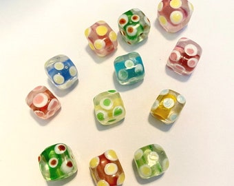 colorful  glass beads 10-Lampwork dotted cubes multi-colored Lampwork glass,polka dot cubes unique Lampwork beads,L161 SALE Ships USA