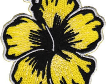 Yellow hibiscus embroidered patch