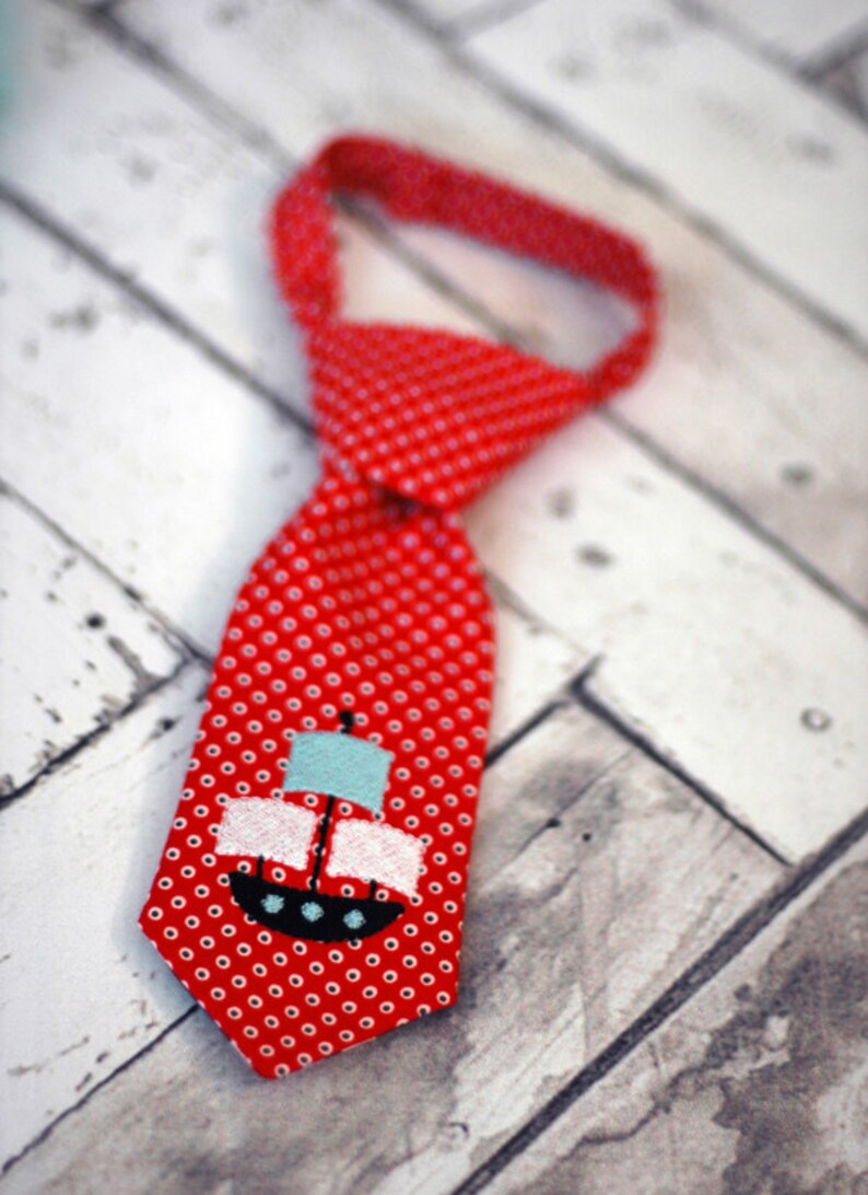 Little Guy Tie - Pirate Ship Nautical Little Guy Tie in Red Black Dots -  Nautical Pirate Party Boys Infant Toddler Tie