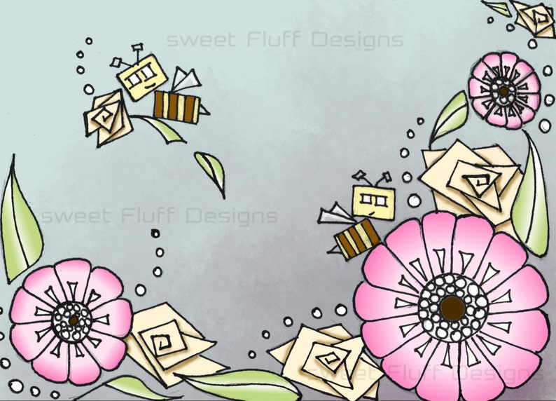 Cartoon Flowers And Bees Colorful Digital Print For Etsy