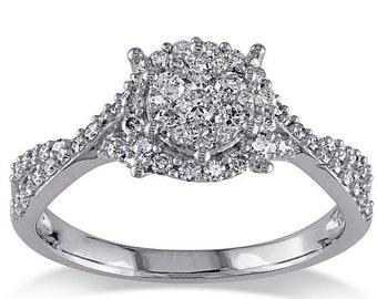 SALE! Diamond Ring, Engagement Ring, 1/2 Carat Diamond Ring, 10K White Gold Ring, Anniversary Ring, Promise Ring, Halo Ring, Bridal Ring