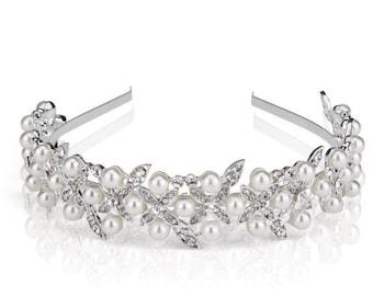 Pearl and Rhinestone Headband, Bridal Headpiece, Bridal Headband, Wedding Headpiece, Wedding Hair Accessories, Bridal Tiara, Silver Headband