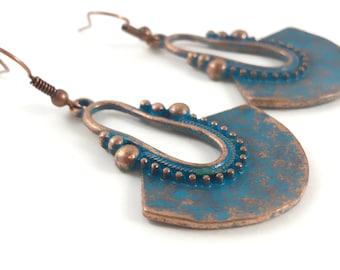 Large Copper Earrings - Long Bohemian Earrings - Dangle Drop Jewelry - Ethnic Patina Earrings - Metal Earrings - Gift for Women - Boho
