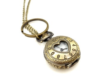 Watch Necklace - ID Badge Lanyard - Vintage Necklace - Heart Necklace - Reading Glasses Lanyard - Grandma Gift - Bronze Locket Necklace
