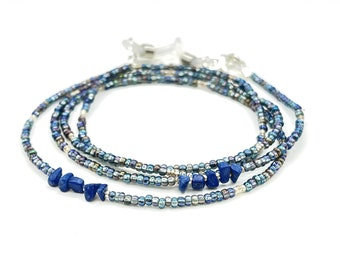 Blue Eyeglass Chain - Lapis Gemstone Necklace - Glasses Necklace - Beaded Necklace - Eyeglass Necklace - Eyeglasses Holder - Grandma Gift