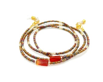 Eyeglass Necklace - Beaded Glasses Chain - Gold Eyeglass Chain - Eyeglasses Lanyard - Grandma Gift - Eyeglasses Holder - Gemstone Necklace