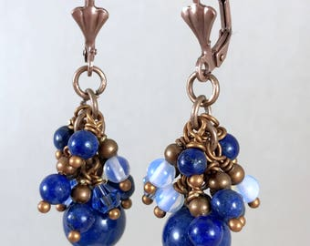 Lapis Lazuli Earrings, Blue Earrings, Dangle Earrings, Stone Earrings,  Boho Earrings, Bohemian Cluster Earrings, Rustic Copper Earrings