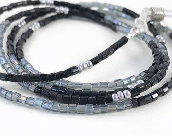 Black Eyeglass Chain - Silver Eyeglass Necklace - Crystal Eyeglass Chain - Beaded Necklace Lanyard - Eye Glass Chain - Eyeglass Chain Gift