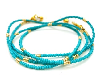 Turquoise Gold Eyeglasses Chain - Beaded Eyeglass Chain - Blue Eyeglass Chain Lanyard - Beaded Eyeglass Necklace -Gold Eye Glass Chain