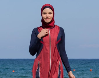 b96b9e4a7d948 Adabkini Mira Muslim 5-piece Long Swimsuit Islamic Full Cover Modest  Swimwear Beachwear Bathingsuit