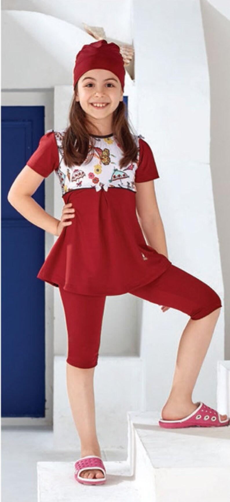 cac306eb56904 Adabkini Ece 3-piece Swimwear Modest Teenager Kids Girls   Etsy