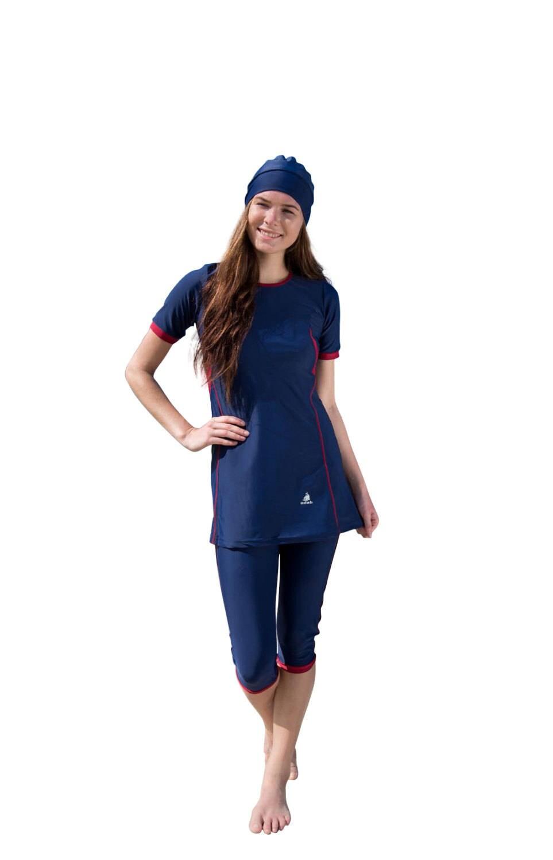 a963a7477a S Size - Adabkini Hazal, modest swimwear, 3-piece semi-covered swiwear w  swimming cap & head cover/hoddi, short sleeves