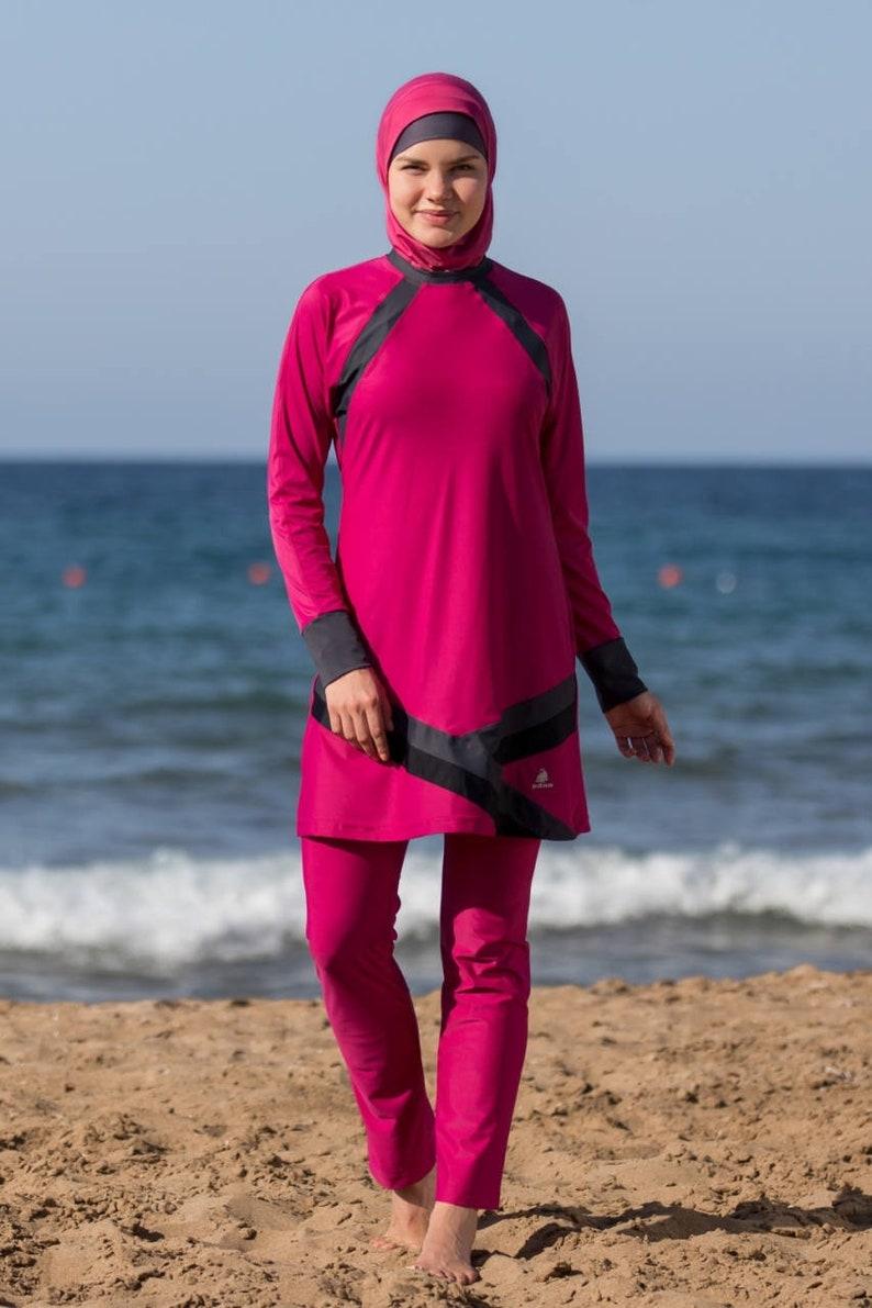 b2338190ae2d1 S M Adabkini BAHAR modest swimwear 4-piece covered   Etsy
