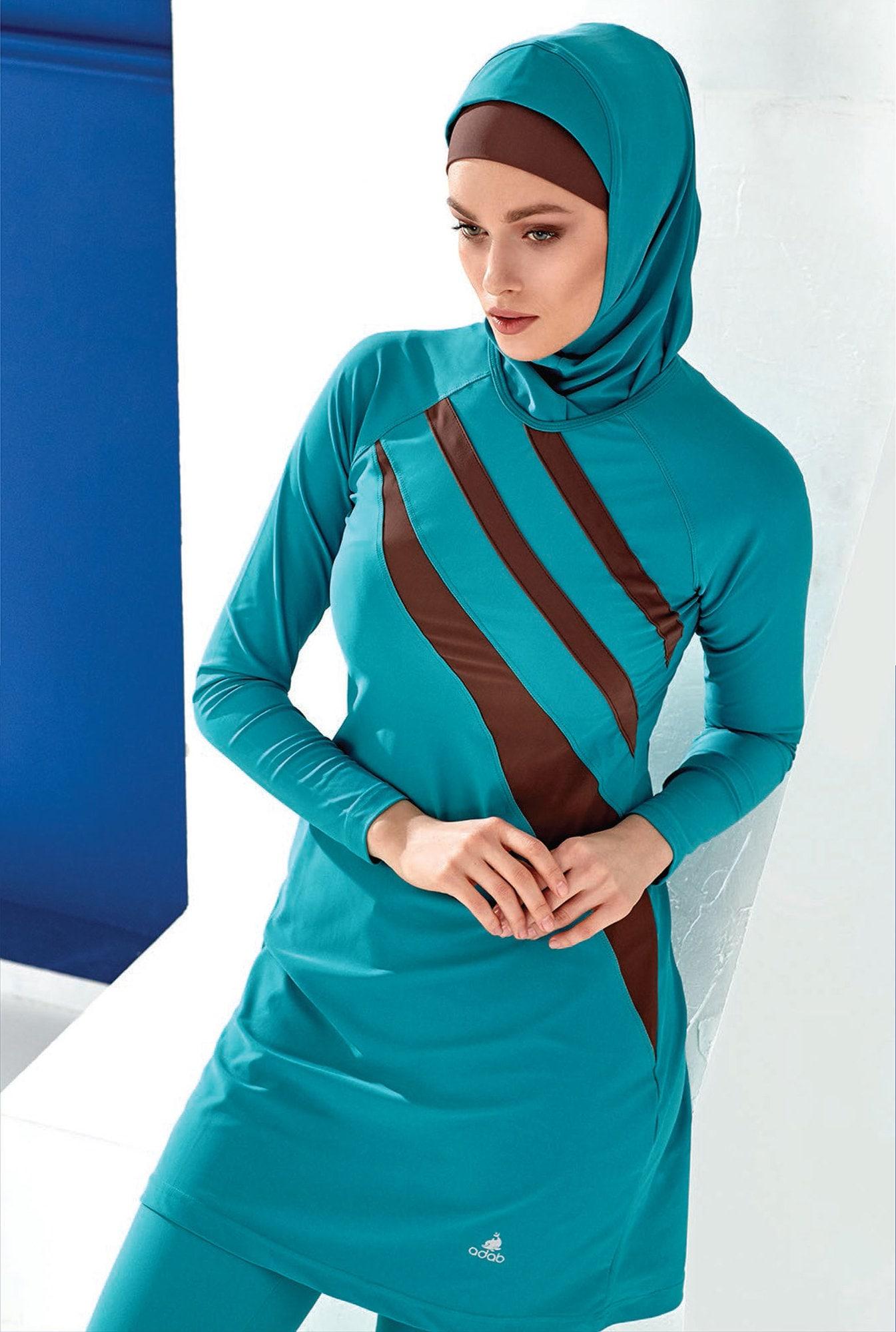 3f3f91ba12c4c Adabkini Gozde Muslim Swimsuit Islamic Full Cover Modest Swimwear Beachwear  burkini, Green