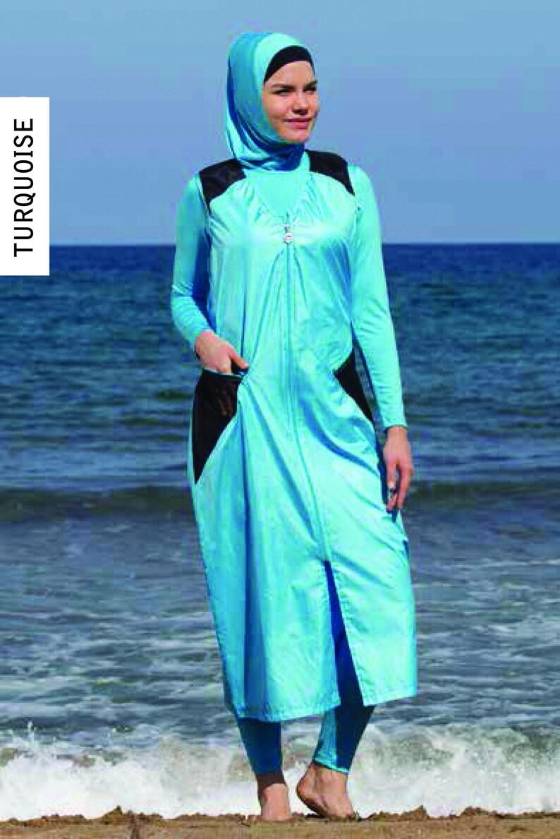 7b018da991a88 Small Adabkini Sila Muslim 5-piece Long Swimsuit Islamic | Etsy