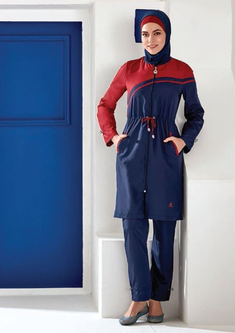 6a0d17fffb404 Adabkini Damla Top seller modest Swimsuit 4-piece with | Etsy