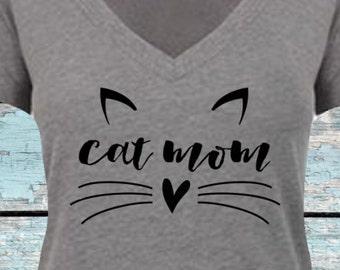 Cat Mom Shirt. Cat Mom Deep V Neck Jersey. Cat Mom T Shirt. [I Love Cats Shirt. Funny Cat Shirt. Cat Lover. Cat Rescue. Cat Art] (12088)