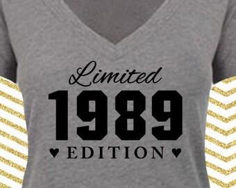 Limited Edition Birthday Shirt. Lady Deep V Jersey. [28th 30th 31st 32nd 33rd 34th 35th 36th 37th 38th 39th 40th 41st 42nd 43rd] (22053)