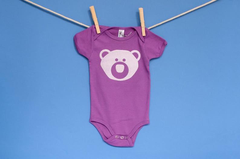 Organic Cotton Bear Onesie in Purple  0-3 Months