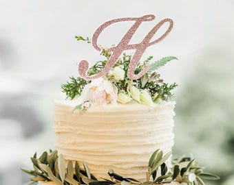 Monogram cake topper,Rose Gold Topper,initial cake toppers,Personalized toppers,single letters,Wedding Cake Topper in your Choice of Glitter