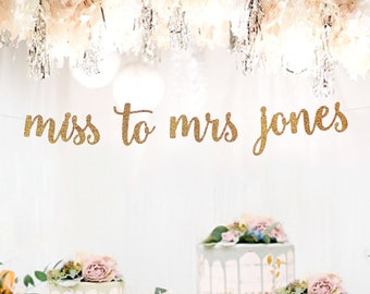 miss to mrs name bannersbridal shower bannerbridal shower name bannerrose gold bannerbridal shower decorationsengagement party banners