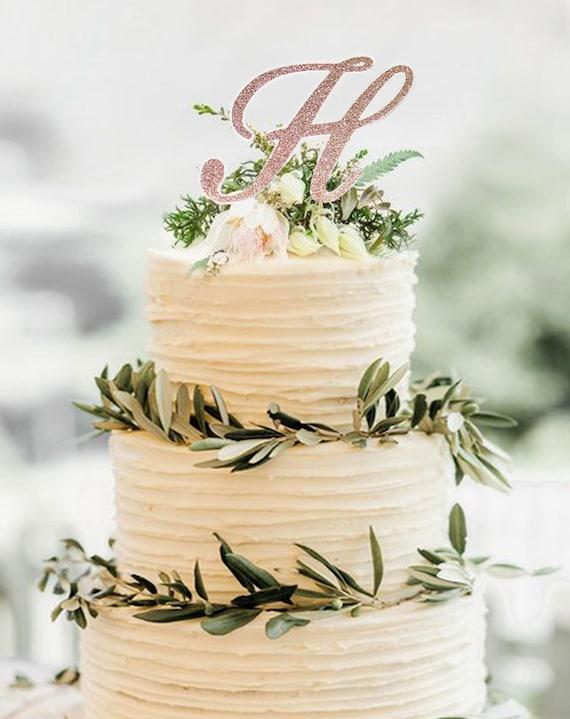 Monogram cake topperRose Gold Topperinitial cake | Etsy