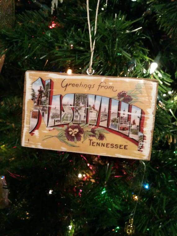 Original Vintage Nashville Christmas Tree Ornament Vintage Postcard Wood Transfer