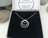 Sterling Silver 40th birthday necklace. 40th birthday gift. 40th birthday gift for women. 4 ring pendant.