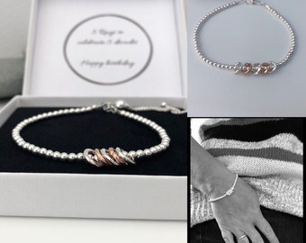 Silver 50th Birthday Bracelet 50 Gift For Women Sterling