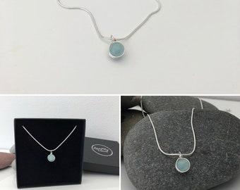 Aquamarine necklace. Sterling silver wire wrap necklace. Aquamarine pendant. Aquamarine jewellery. March birthstone