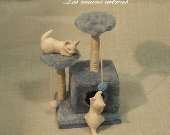 Arbre à chat MINIATURE bleu 10 et 12éme