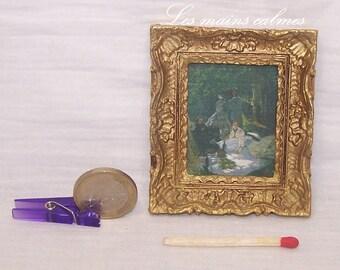 Cadre reproduction peinture miniature (Claude Monet)