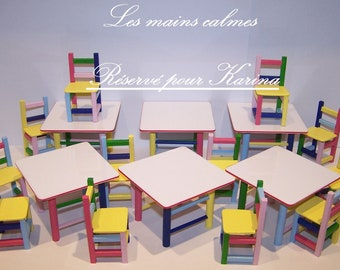 Set of 6 tables and 12 chairs