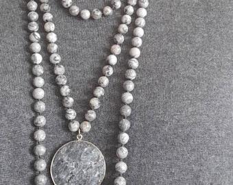 Boemian Handmade necklace with real gray jasper gemstone.