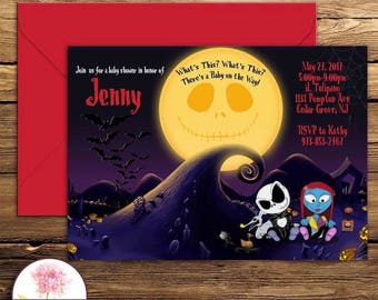Nightmare before christmas baby shower invitations etsy nightmare before christmas baby shower invitation digital file filmwisefo