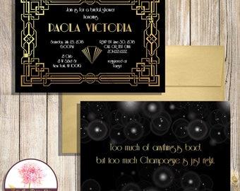Art Deco/Gatsby Invitation- Black and Gold 1920s Invitation