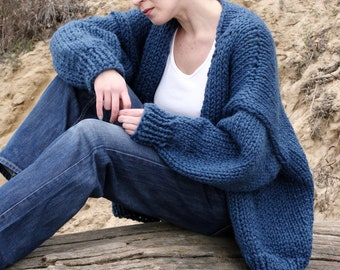 Oversized cocoon wrap cardigan Handmade jacket denim blue outerwear Batwing cardigan Boho fashion loose wrap coat Knit sweater Hand knitted