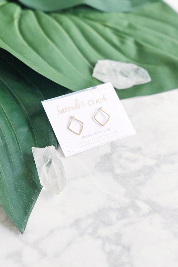 Small Gold Stud Earrings Minimalist Square