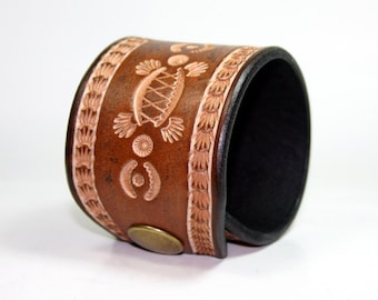 Leather Turtle Wristcuff, Wide Leather Bracelet, Handcrafted Leather Designs At PegCity Leather