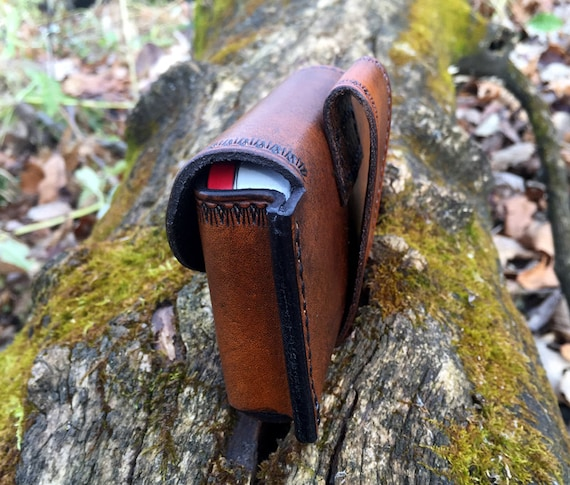 Bushcraft Large Leather fire kit pouch with huge tin  possibles pouch  Altoids tin belt pouch camping hiking EDC  survival item.